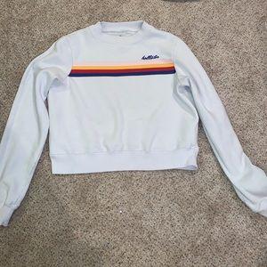 White Long Sleeve Hollister Cropped Sweatshirt